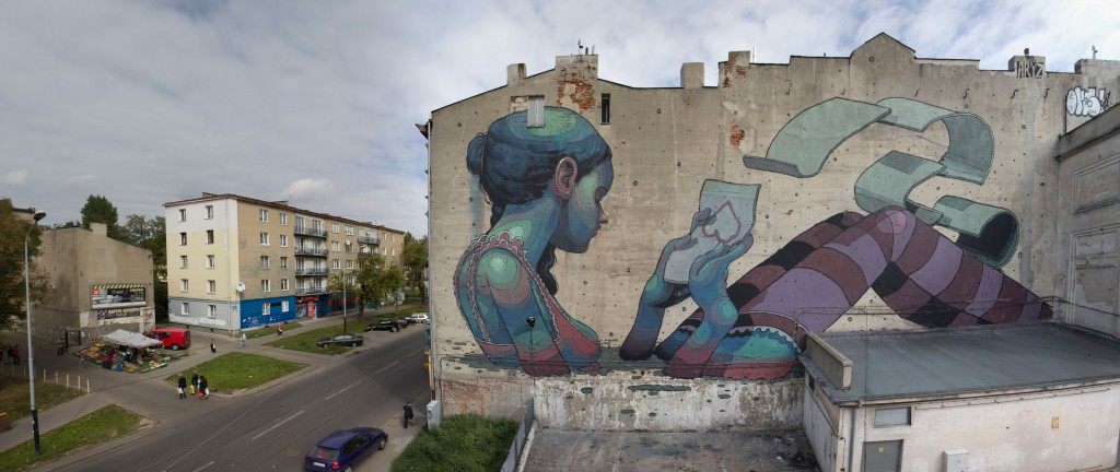 One of ARYZ's latest walls in Lodz, Poland