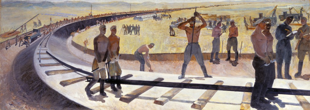 Workers buildling the Magnitogorsk railway by Kuzmá Nikoláyev