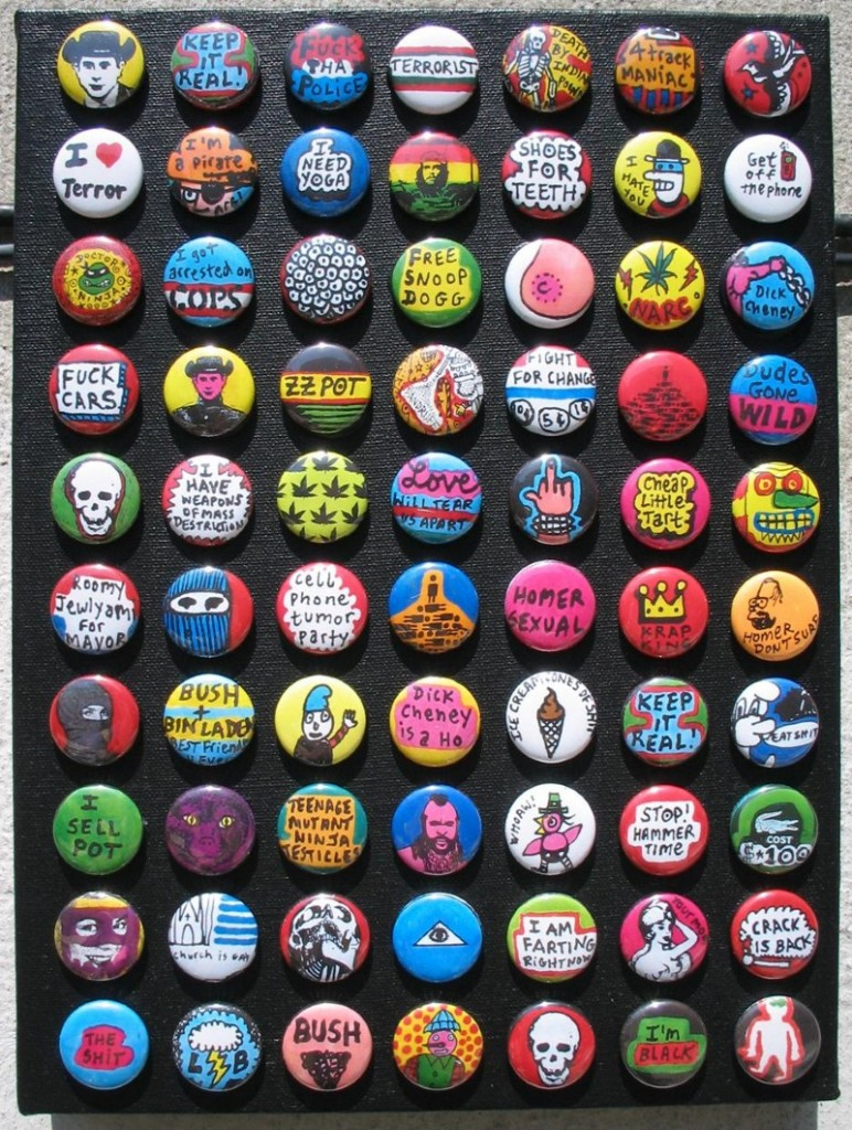 Noah Lyon- Buttons vs. Painting round 1- 2005- pins on canvas_800