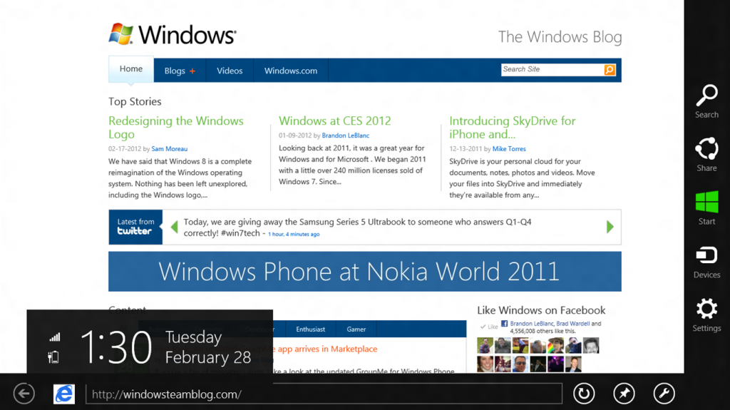 Windows 8 IE browser screen