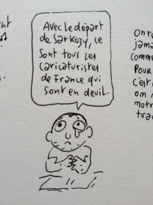 Depart de Sarkozy - drawing by Joann Sfar