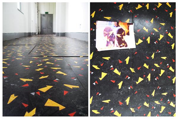Lauren Godfrey, 'Seinfeld Shoe', inlaid linoleum, posters.