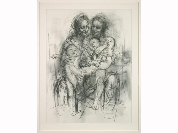 Jenny Saville, 'Reproduction drawing IV (after the Leonardo Cartoon)' (2010). Image courtesy of Modern Art Oxford.