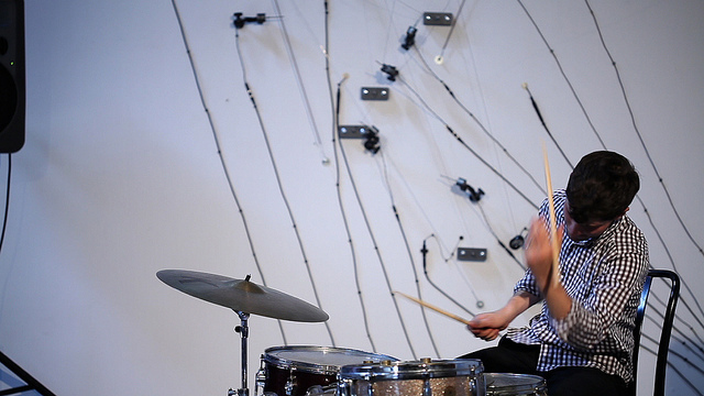 Eli Keszler (drums, crotales, installation), performing with the L-Carrier installation, Eyebeam, New York City, June 2012