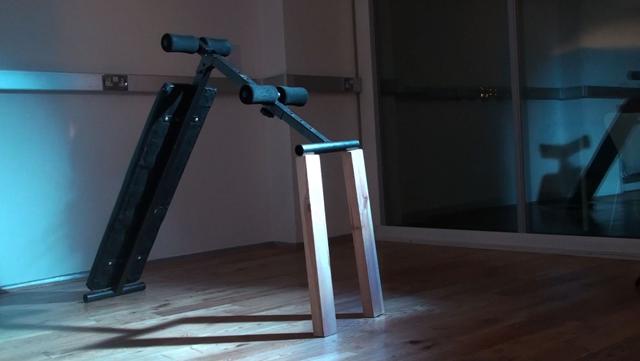 Leah Capaldi, Ab Rider, Power Pro (video still), (2014). From 'Chorus' Installation.