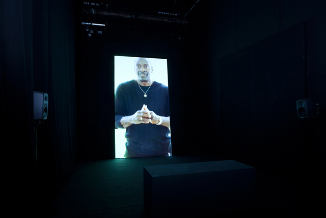 Install shot of 'Guards', (2012) Hito Steyerl, Institute of Contemporary Arts, London 5 Mar 2014 – 27 Apr 2014 Photo: Paul Knight