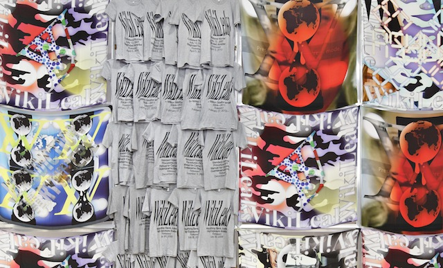 Transparent Camouflage , (2011-2013): WikiLeaks scarves and t-shirts. Installation view, image courtesy Future Gallery.