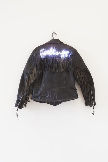 Dominic Watson, 'European Hero' (2014).  Leather Jacket, LED's, 9-Inch Nail, Coat Hanger.