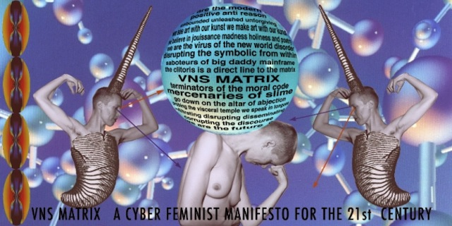 """VSN Matrix Cyberfeminism Manifesto"" at Berlin's transmediale 'Dark Drives' exhibition. Image courtesy transmediale."