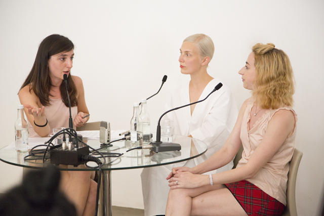 Giulia Smith, Jenna Sutela and Giulia Smith (left-to-right) @ 'The Posthuman Era Became a Girl (2014). Image courtesy Arcadia Missa.