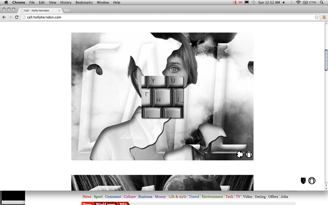 Metahaven x Holly Herndon, 'call.hollyherndon.com' (2014). Screen capture courtesy Metahaven.