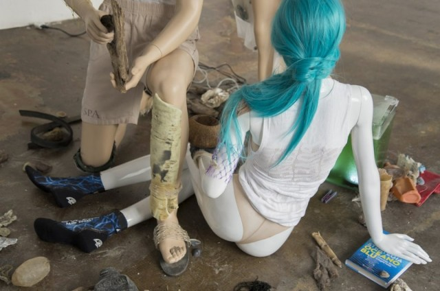 Daniel Keller + Ella Plevin, Seastead, 'Figures (Polypool)' (2015). Install view. Courtesy Marsèlleria.