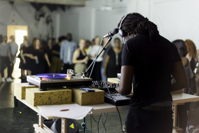 Larry Achiampong @ All Of Us Have A Sense Of Rhythm: An Evening of Live Music (2015). Performance view. Photo by Dan Weill. Courtesy DRAF, London.