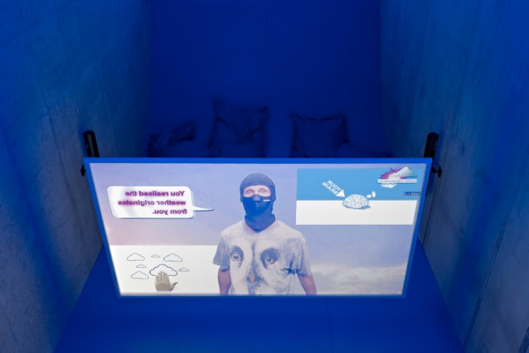 Hito Steyerl, Left To Our Own Devices (2015). Exhibition view. Photo by Ladislav Zajac. Courtesy KOW, Berlin