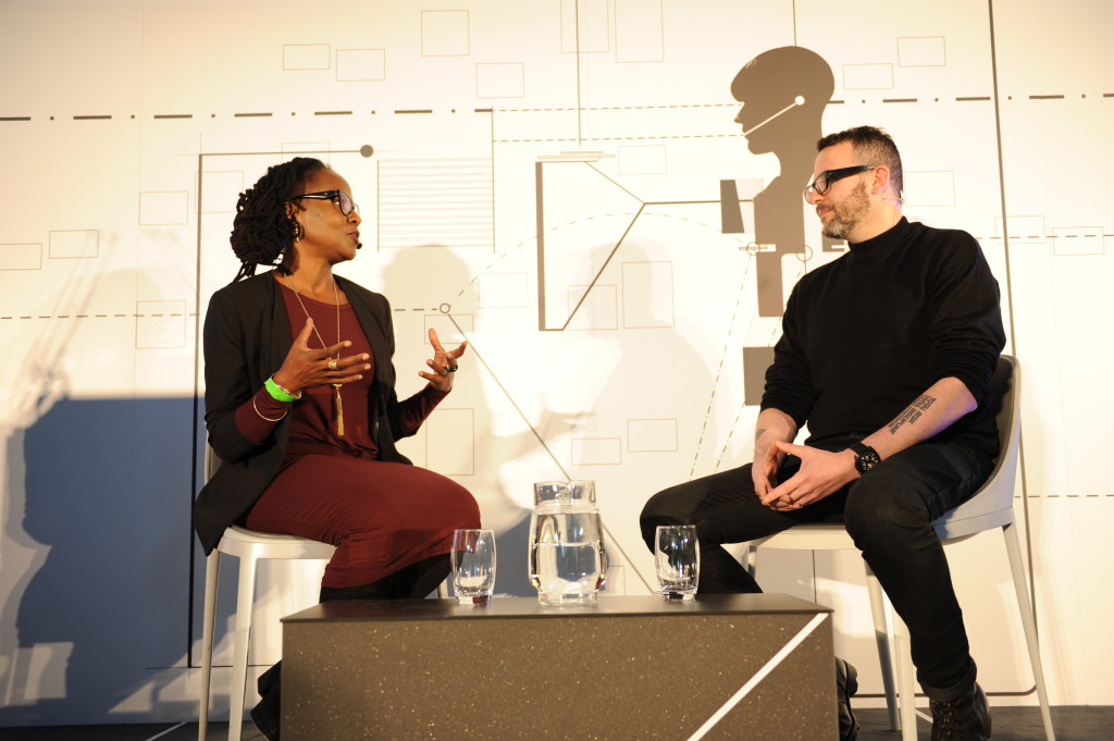 Adam Greenfield in conversation with Aimee Meredith Cox at the Transformation Marathon; Serpentine Sackler Gallery, 17 October, 2015. Photograph © Plastiques Photography.