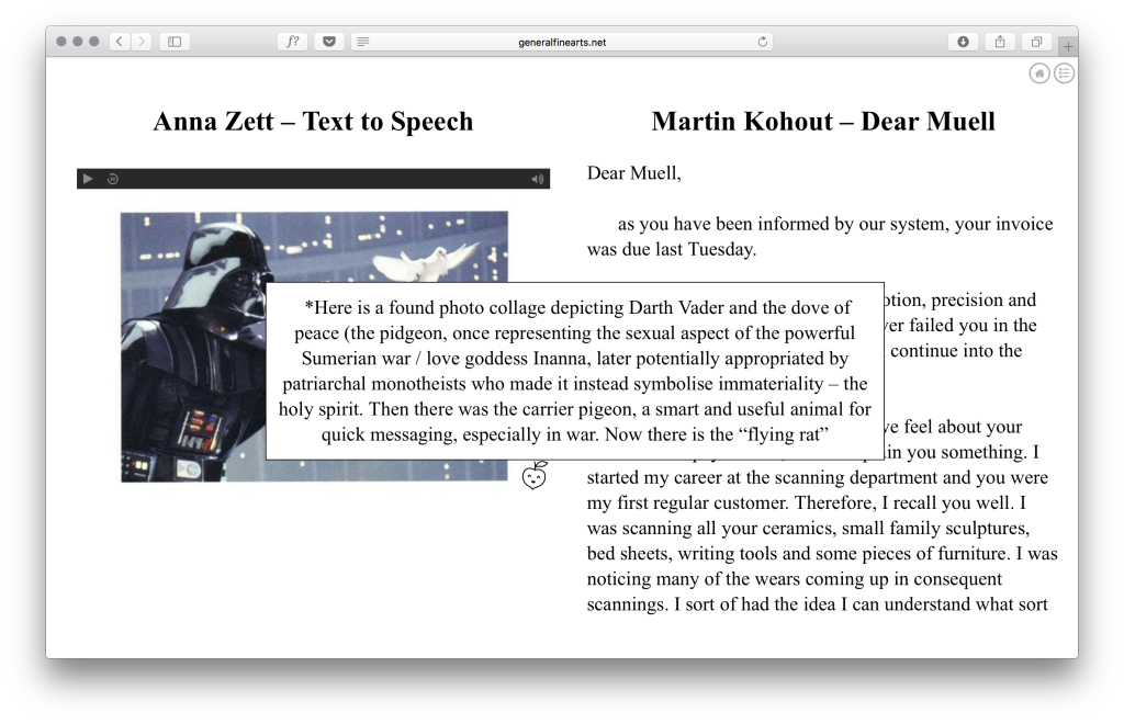 Anna Zett, 'Text to Speech', Martin Kohout, 'Dear Muell'. Courtesy General Fine Arts, London.