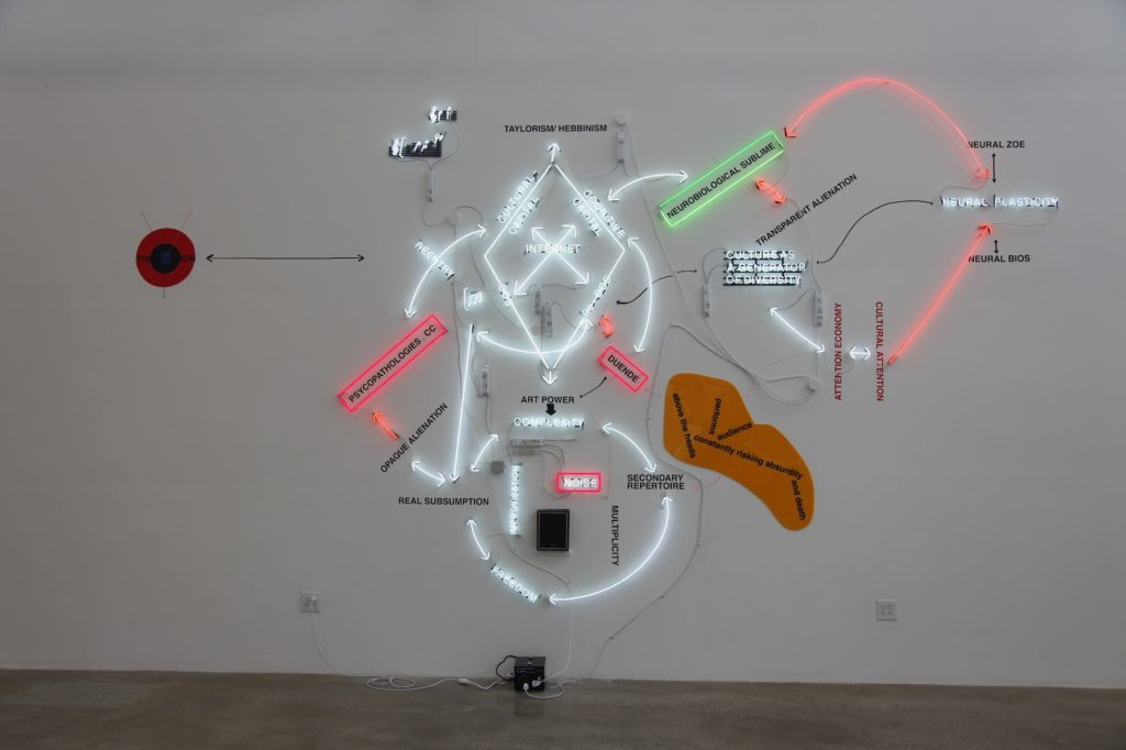 Warren Neidich, Duende Neon (2015). Installation view. Courtesy the artist + Mana Contemporary, New Jersey.