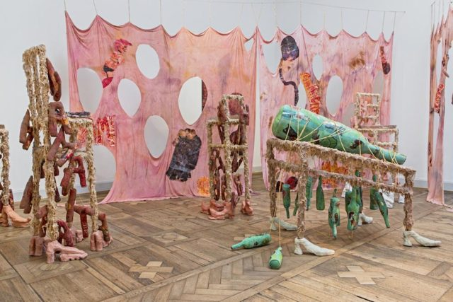 Athena Papadopoulos, 'The Great Revel of Hairy Harry Who Who: Orgy at the Onion Cellar', (2015). Installation view. Courtesy of artist + Les Urbaines, Lausanne.