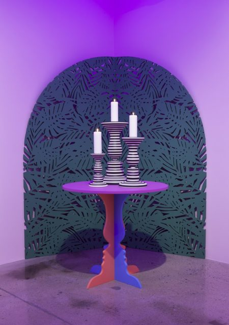 Greg Ito, Table and Candles (2016). Installation view. Image courtesy the artist and Steve Turner, Los Angeles