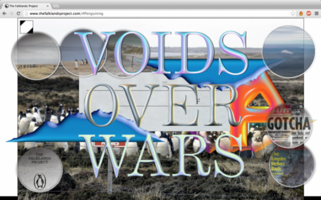 Jasmijn Visser, 'The Falklands Project I, Voids over wars', (2016). Screen shot website Jasmijn Visser in collaboration with design collective Metahaven. Courtesy the artist + Delfina Foundation + Allard Pierson Museum Amsterdam.