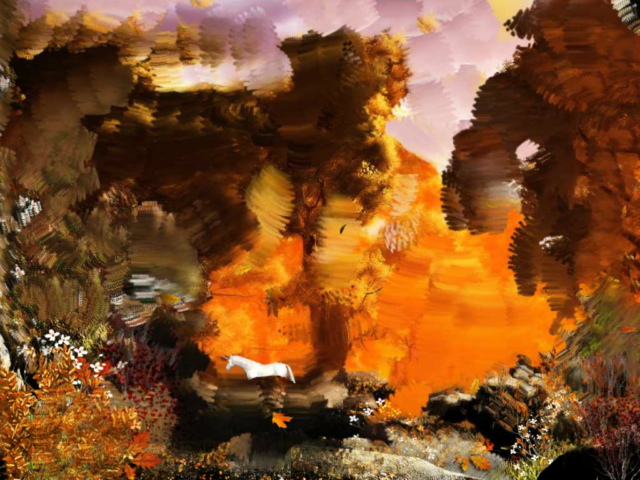 Petra Cortright Autumn Forest With_painted_background 2017 Courtesy The Artist City Gallery Wellington